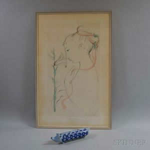 Framed Bjorn Wiinblad Lithograph and Ceramic Candelabra.     Estimate $20-200