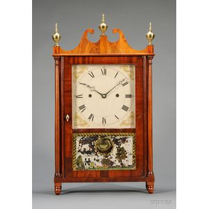 Mahogany Pillar and Scroll Cantilever Spring Shelf Clock by Joseph Ives