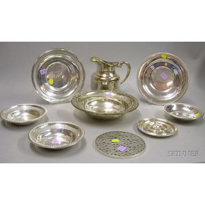 Nine Sterling and Silver Plated Serving Items