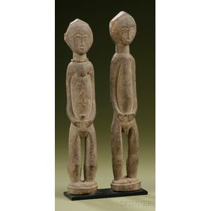 """African Carved Wood Male and Female """"Spirit"""" Couple"""