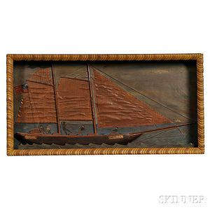 Carved Shadow Box Diorama of the Yacht America
