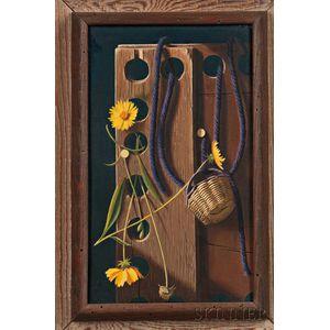 Lodewijk Karel Bruckman (Dutch/American, 1913-1980)    Still Life with Wood Block, Flowers, and Purple Yarn