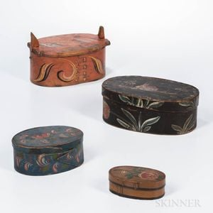 Four Paint-decorated Oval Pantry Boxes