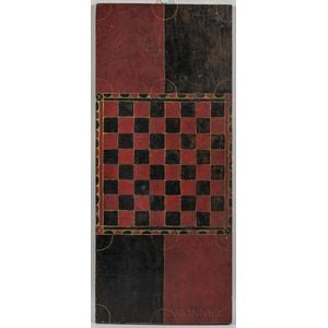 Long Red- and Black-painted Checkers Game Board