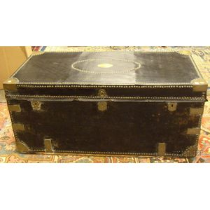 Chinese Export Brass-mounted Black Leather-clad Camphorwood Storage Trunk