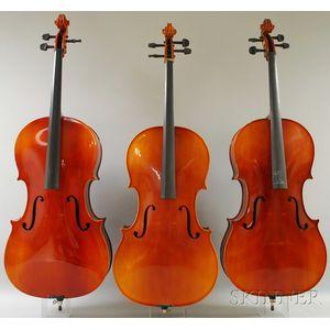 Three Modern Violoncellos, Anton Schroetter, Mittenwald, c. 1970.