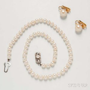 Mikimoto Cultured Pearl Necklace and Earclips