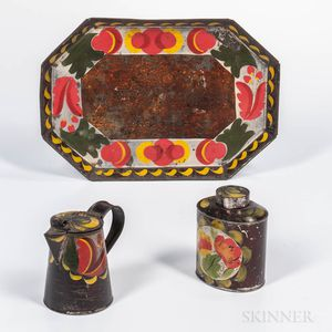 Three Pieces of Paint-decorated Tinware
