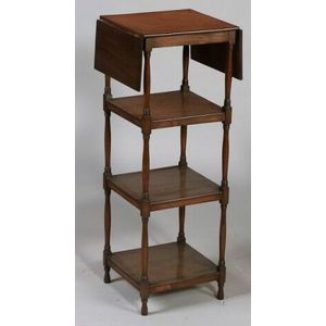 Victorian Mahogany What-not, 19th century, with rectangular drop leaves and three shelves on turned supports and legs, ht. 36, wd. 13,