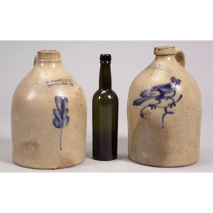 Two Cobalt Blue Decorated Stoneware Jugs