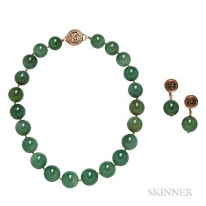 14kt Gold and Green Hardstone Bead Necklace and Earrings, Ming