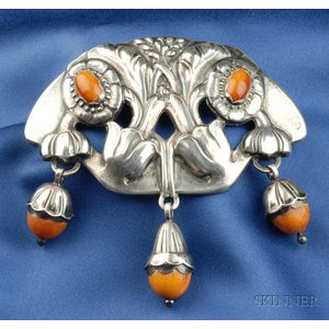 Rare Silver and Amber Brooch, Georg Jensen