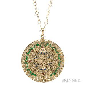 14kt Gold and Enamel Pendant