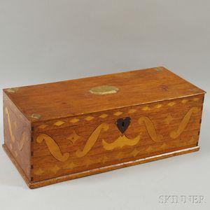 Folk Art Inlaid Mahogany Document Box