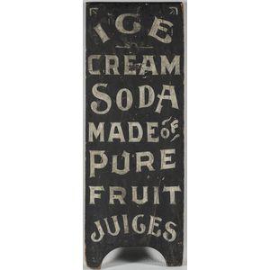 "Painted ""Ice Cream Soda"" Sign"