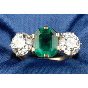 Edwardian Emerald and Diamond Ring