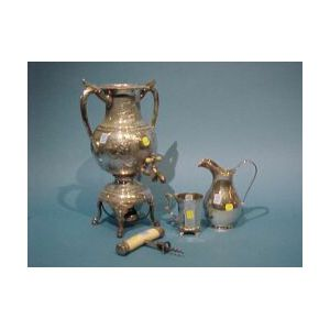 Sterling and Silver Plated Pitcher, Cup, Mounted Ivory Corkscrew and Coffee Urn.