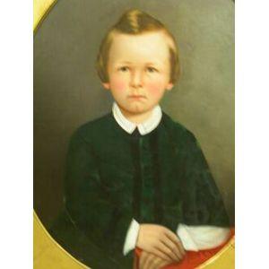 Framed Oil Portrait of a Boy.