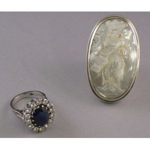 Livian Sapphire and Diamond Ring and Silver and Carved Mother-of-Pearl Ring.