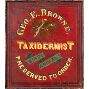 Polychrome Painted Wooden Taxidermist Trade Sign