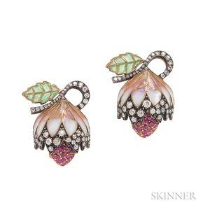18kt Gold, Plique-a-Jour Enamel, Ruby, and Diamond Earrings, Evelyn Clothier