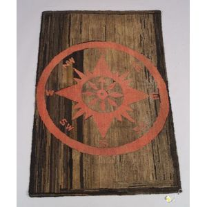Wool and Cotton Mariner's Compass Hooked Rug