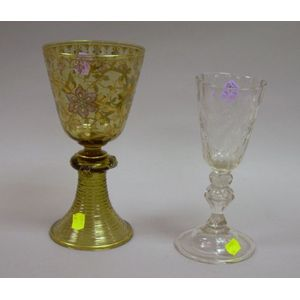 Bohemian Colorless Cut Glass Goblet and an Enamel Decorated Amber Glass Goblet.