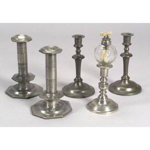 Five Pewter Candlesticks and a Glass Peg Lamp
