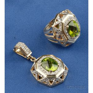14kt Gold, Peridot and Diamond Suite
