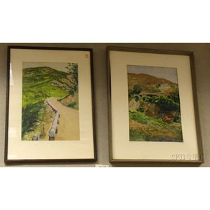 Two Framed Watercolors on Paper of Hillside Landscapes, by Charles Avery Aiken (American, 1872-1965), signed C.A. Aiken l.l.