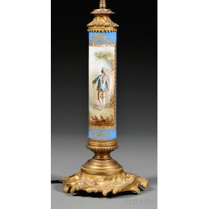 Sevres-style Porcelain and Dore Bronze Lamp Base
