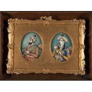 Pair of Miniature Portraits of Shah Jahan and Mumtaz Mahal