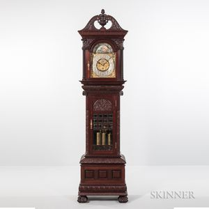 Rare Walter H. Durfee & Co. Pattern 8 Carved Mahogany Nine Tubular-bell Hall Clock