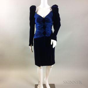 Retro Jacqueline De Ribes Blue Silk and Velvet Dress