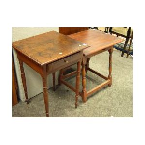 Federal Cherry One-Drawer Stand and a William and Mary Pine and Maple Tavern Table
