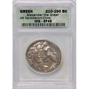 Chios, Alexander III AR Tetradrachm, ICG EF45.     Estimate $600-800