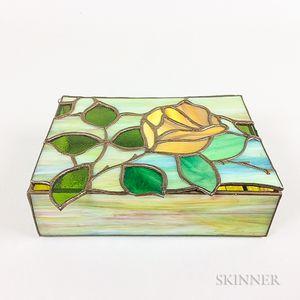 Slag Glass Rose-decorated Trinket Box
