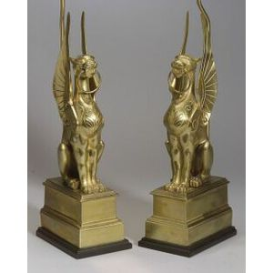 Pair of Renaissance Revival Brass Griffin-form Lamp Bases