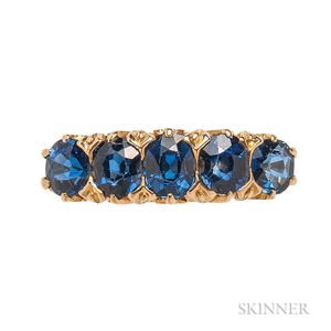 18kt Gold and Sapphire Five-stone Ring