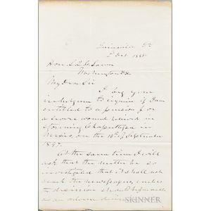Longstreet, James (1821-1904) Autograph Letter Signed, 2 October 1885.