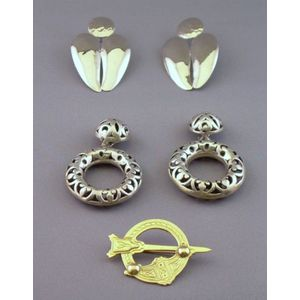 Two Pairs of John Hardy Designed Silver Earrings and a European 14kt Gold Kilt Pin.