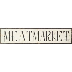 """MEAT MARKET"" Painted Wooden Trade Sign"