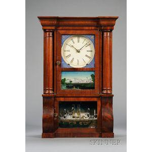 Miniature Mahogany Sleigh-Front Shelf Clock by E.O. Goodwin