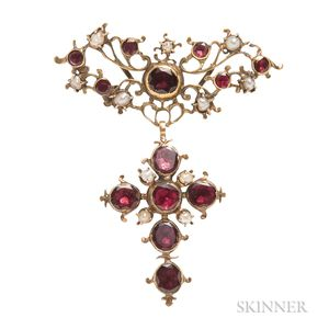 Antique Gold, Pearl, and Garnet Pendant