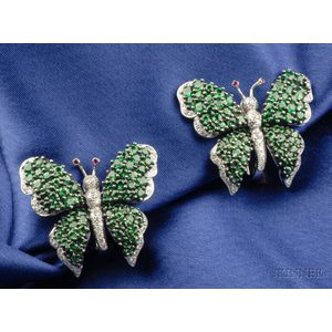 Tsavorite Garnet and Diamond Butterfly Earclips, Fred Leighton