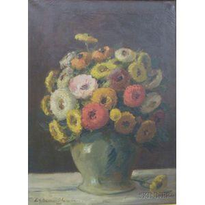 Framed Oil on Canvas Still Life of Flowers by Fritz Müller-Schwaben (German,   1879-1957)