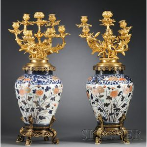 Pair of Ormolu Mounted Imari Vases