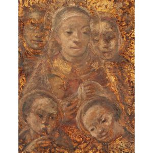 German School, 20th Century    Portrait of the Virgin and Child with Saints, Possibly a Black Madonna