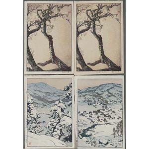 Toshi Yoshida (1911-1995), Four Woodblock Prints
