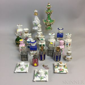 Twenty-three Porcelain and Glass Perfumes